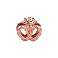 52023e6c61e 2018 Outono 925 Jóias De Prata Esterlina Unidos Corações Regal Rose Gold  Charme Beads Serve Pulseiras Colar Para As Mulheres Fazer Jóias
