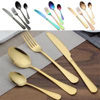 кухонные ножи оптовых-Наборы столовых приборов из нержавеющей стали Золото Ложка, вилка, нож, чайная ложка, набор столовых приборов.