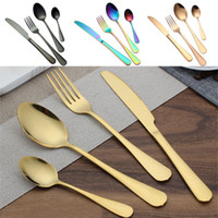Wholesale kitchen utensils sets resale online - Stainless steel Gold Flatware Sets Spoon Fork Knife Tea Spoon Dinnerware Set Kitchen Bar Utensil Kitchen supplies Free DHL WX9