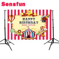 ingrosso fotografia di pittura leggera-Vinyl Carnival Circus Balloons Bambini Compleanno Personalizzato Photo Studio Sfondo Sfondo 7x5ft