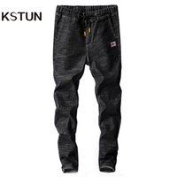 Wholesale elastic drawstring jeans resale online - Kstun Mens Jeans Japan Style Spring Autumn Elastic Waist Black Slim Drawstring Black Jean Man Casual Denim Pants Joggers Homme