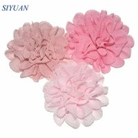 Wholesale eyelet flowers online - 50pcs cm Bright Color Pluffy Fabric Eyelet Flower With Without Alligator Hair Clip Girl Fashion Headwear TH253
