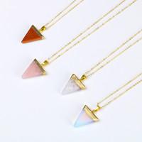 kolyeler için değerli taşlar toptan satış-Renkli e Şekil Pembe taş Kristal Kolye Kadınlar Için Yarı Değerli Taş Doğal Kolye opal Toptan Kolye