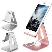 metallstandplatz für iphone ipad großhandel-Aluminium-Schreibtisch-Telefon-Einfassungs-Halter-Scharnier-justierbarer Metalltabletten-Halter-Standplatz-Universaldesktop-Halter für iphone X Samsung S9 Tablet iPad