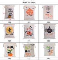 ingrosso zucca di halloween-Sacchetti di Halloween di 9 Styles Zucca Borsa con coulisse in cotone con cordoncino Zucca Spider Bat Dolcetto o scherzetto per i bambini