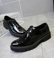 Wholesale Carved Wedge Shoes - 2018 New spring mens dress shoes luxury brand black loafers wedding dance shoes carving casual shoes size 38-43 253