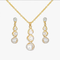 Wholesale Pearl Diamond Earrings 14k - Pearl Crystal Diamond Angel Tears Drop Necklace Earrings Sets Gold Chain Necklace for Women Fashion Wedding Jewelry
