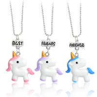 Wholesale christmas kids sets - 3 Pcs  Set Unicorn Necklace Jewelry keychain Best Friend Forever Charms Choker Necklace for Girls Kids Pendants Birthday Gifts 380011