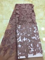 свадебные платья из турции оптовых-Африканская ткань шнурка ткани шнурка organza высокого качества французская с sequins 5 ярдов для платья венчания женщин