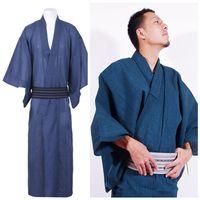 japanese yukata robes venda por atacado-2018 verão homens tradicionais robe de pijama japonês robes simples quimono yukata ternos camisola de algodão sleepwear roupão de banho lazer