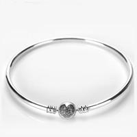 kristall herz armband großhandel-Luxus 925 Sterling Silber Kristall Liebe herz ball clips Frauen Bangle Logo Original box für Pandora Charms Armband Weihnachtsgeschenk