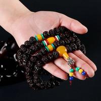cuentas tibetanas de mala al por mayor-108 Pulsera budista tibetana Cuentas de Rudraksha Granos de oración Mala Buddha Rosario ambar de múltiples capas envuelto pulsera pulsera Joyería