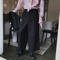 pantalon marron à larges jambes achat en gros de-Design élégant mens longueur pantalon pantalon large jambe décontractée pantalon de coiffeur lâche droites M-2XL noir gris vert brun