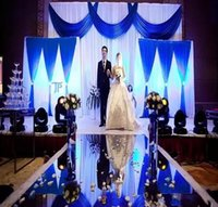 mavi istasyon toptan satış-Lüks Düğün Centerpieces Koridor Koşucu Ayna Halı Düğün T Istasyonu Dekorasyon Için Altın Gümüş Mor Gül Kırmızı renk Mevcut