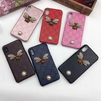 caja de diamante 3d al por mayor-Lujo 3D Bling Diamond Funda de piel de abeja Volver Perla Carta impresa Funda para teléfono iPhone XS Max XR 6s 7 8 Plus