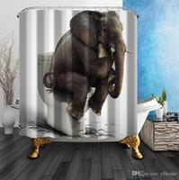 cortinas de chuveiro de qualidade venda por atacado-Cortinas de chuveiro elefante higiênico qualidade tecido de poliéster cortina de chuveiro à prova de água mofo resistente banheiro suprimentos cortinas com ganchos