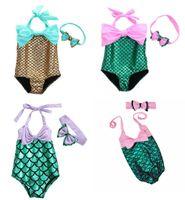 trajes de baño de tallas grandes al por mayor-Baby Girls Mermaid Bikini Headband Sets Trajes de baño de una pieza La sirena Trajes de baño Maillots de Bain Bañador Cinta de pelo Plus Size
