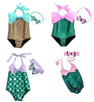 bikini plus al por mayor-Baby Girls Mermaid Bikini Headband Sets Trajes de baño de una pieza La sirena Trajes de baño Maillots de Bain Bañador Cinta de pelo Plus Size