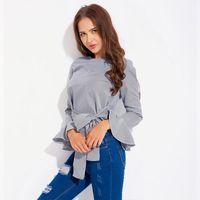 satış artı boyutu bluzlar toptan satış-2018 Sıcak Satış Pamuk Polyester Rahat Tam Artı Boyutu Kore Shein Bahar Yeni Sapanlar Çizgili Gömlek Taze Tatlı Bluz Düzensiz
