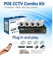 poe système de sécurité à domicile achat en gros de-4CH HD 720 P POE NVR 4 PCS POE 1.0MP balle IP Réseau Sécurité Caméra CCTV Système Email Alerte P2P Surveillance Kit