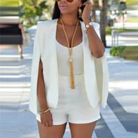 ofis katları toptan satış-Yeni Bayanlar Kadınlar Uzun Kollu Yaka Cape Panço Ofis Ceket Pelerin Blazer Takım Ceket