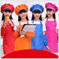 Wholesale free kid crafts for sale - Group buy 9 Colors Solid Aprons Kids Apron Pocket Craft Cooking Baking Art Painting Kids Kitchen Dining Bib Children Aprons set CCA9817 set