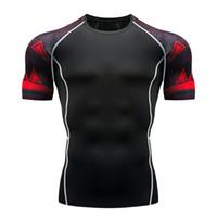 kostenlos mma gang großhandel-Herren Fitness 3D gedruckt Kurzhülse T-Shirt Bodybuilding Skinny Shirt MMA Crossfit Workout Top Gear der Männer Freies Verschiffen