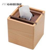 ingrosso scatola di legno moderna-JUH A Modern Fashion Quadrato in legno Box creativo Tipo di posto in rotolo Carta velina Contenitore Eco-Friendly Decorazione della tavola in legno