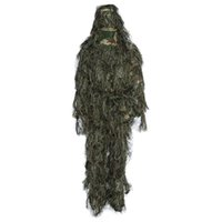 Wholesale woodland uniform online - Ghillie Suit Set Hunting Woodland Disguise Uniform Camouflage Suits Set Sniper Jungle Train Hunting Cloth Poncho