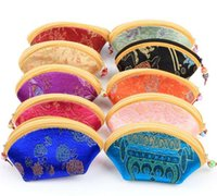 Wholesale cute chinese wallets resale online - 11x6cm Mini Cute Shell Zipper Silk Coin Purse Women Wallet Colorful Jewelry Storage Pouch Candy Chinese traditional gift bag