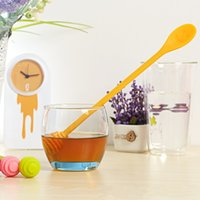 Wholesale long handled plastic spoons - Creative Spoon Smiling Face Patterns Handy Honey Agitation Long Handle Stirred Rod on Both Sides Stick Scoop 3 2yk X