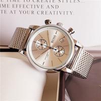 uhrzeiger großhandel-Alle Zeiger arbeiten AAA-Qualität 40mm Stahl-Maschenband-Uhr-Männer Luxusuhren klassische Uhr Herrenuhren Relogio Markenuhr