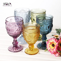 Wholesale round cutting machine - Stocked colored stemware red wine glass machine made eco-friendly glass cup