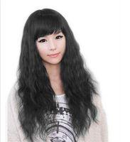 longo cabelo cacheado preto meninas venda por atacado-Frete grátis ++++ Meninas Negras Onda Longa Perucas de Cabelo Encaracolado Cosplay Vestido Extravagante Perucas