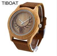 reloj de laides al por mayor-TIBOAT Bamboo Wood Casual Relojes para Hombres Mujeres Hueco Deer Head Laides Correa de Cuero Genuino Reloj de Cuarzo Dropshipping de Madera