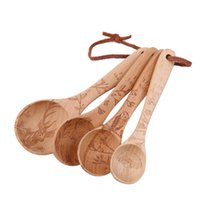 Wholesale Touch Wood - Visual Touch Animal Wooden Beech Wood Kitchen Coffee Measuring Spoons Set Baking Utensil Spoon 4pcs ,1  4tsp ,1  2tsp ,1tsp ,1tbs