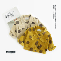 Wholesale yellow down jacket kids - Ins baby Polka Dot Coat Long Sleeve Turn-down collar for autumn kid out wear coat fashion style clothes
