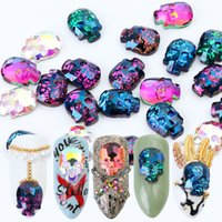 Wholesale nail skull rhinestones for sale - Group buy 10pcs Mixed Rainbow Color Crystal Nail Rhinestone For Christmas Skull Bone DIY D Nail Art Glitter Decal Accessory LA704