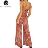 Gros-Lily Rosie Fille Rouge Rayé Hors Épaules Combinaisons Femmes Été Plage Sexy Strap Long Barboteuses Combinaisons Backless Bow Overalls