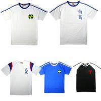 camiseta cosplay al por mayor-Anime Europa Captain Tsubasa Camisetas Ozora Tsubasa Jersey Camisetas de algodón Cosplay Disfraces Kojiro Hyuga Camisetas de manga corta Camisetas