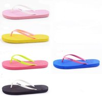 Wholesale best beach shoes - Love Pink Flip flops Girls Pink letter Sandals Candy color summer soft Beach Slippers brand Shoes Beach Shoes 7 color 35-39 2pcs pair best