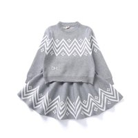 Wholesale american girl knit patterns resale online - Baby girls Wave pattern outfits children knitting Sweater skirts set Spring Autumn Boutique suits kids Clothing Sets C4399