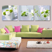 Wholesale pot painting pictures - Wall Art Canvas HD Prints Posters Pictures 3 Pieces White And Green Flowers Pot Plant Paintings Living Room Home Decor Framework