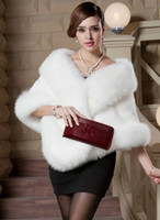 Faux Fur Half Sleeve Collarless Coats Women's Cape For Wedding Black White Gray Burgundy Red