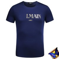 Wholesale Blue T Shirts For Men - 2018 new come luxury designer 100% cotton t shirts for men ~ tops special embroidery comfortably breathable short sleeve t shirt