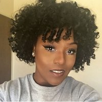 Wholesale afro bob wigs for sale - Short Bob style Full lace human hair Wigs For Black Women A African Afro Kinky Curly Lace front Wigs INCH density
