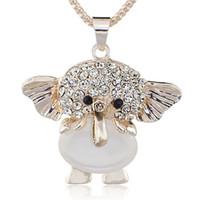 colar de cristal opala venda por atacado-Opalas elefante brilhante cristal longa cadeia colares pingentes colar para as mulheres