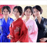 Chinese Women Silk Satin Robe Japanese Geisha Yukata Kimono Bathrobe Sexy  Sleepwear Flower Nightgown eb21e56a8