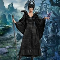Wholesale xxl party clothes for sale – halloween Polyester New Adult Deluxe Maleficent Christening Black Gown Halloween Witch Cosplay Fancy Dress Costume Carnival Party Clothing Outfit