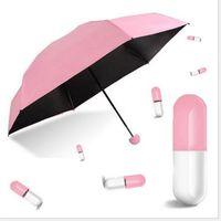 mini siyah şemsiyeler toptan satış-Mini Kapsül Şemsiye Güneşlik Ultra Ligh Güneş Kremi Siyah Sakız Özgünlük Yarım Kapalı Paraşüt El Hareketi Şeffaf Yağmur Çift Amaçlı 18 5hr ff